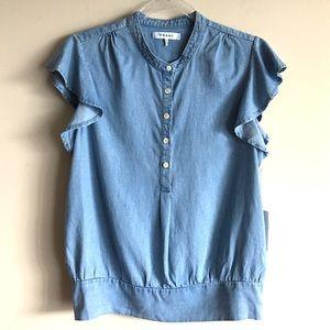 FRAME Smocked Flutter Sleeve Chambray Shirt Rowan